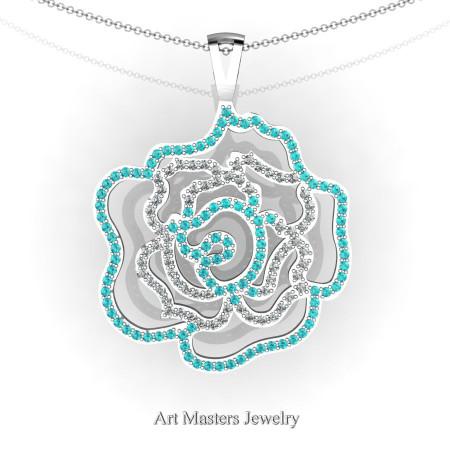 Classic 14K White Gold Capri Blue Zircon Diamond Rose Promise Pendant and Necklace Chain P101M-14KWGDCBZ