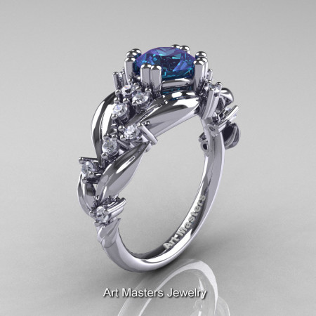 Nature Classic 14K White Gold 1.0 Ct Alexandrite Diamond Leaf and Vine Engagement Ring R340-14KWGDAL