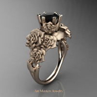 Nature Inspired 14K Rose Gold 1.0 Ct Black Diamond Rose Bouquet Leaf and Vine Engagement Ring R427-14KRGSBD