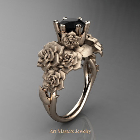 Nature Inspired 14K Rose Gold 1.0 Ct Black Diamond Rose Bouquet Leaf and Vine Engagement Ring R427-14KRGSBD