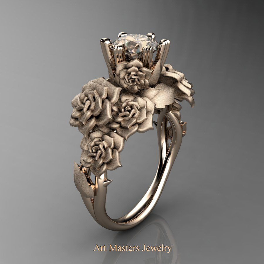 Nature Inspired 14K Rose Gold 1.0 Ct Champagne Diamond Rose Bouquet Leaf  and Vine Engagement Ring
