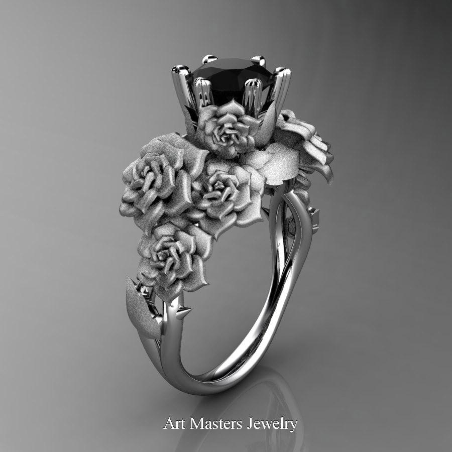 Nature Inspired 14K White Gold 10 Ct Black Diamond Rose Bouquet