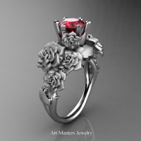 Nature Inspired 14K White Gold 1.0 Ct Ruby Rose Bouquet Leaf and Vine Engagement Ring R427-14KWGSR