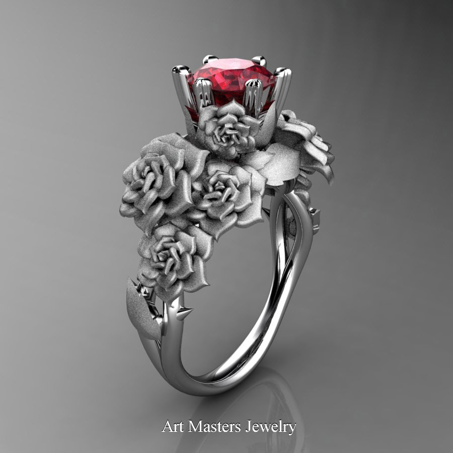 Nature Inspired 14k White Gold 10 Ct Ruby Rose Bouquet Leaf And Vine Engagement  Ring R427
