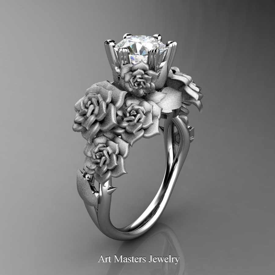 Nature Inspired 14k White Gold 10 Ct White Sapphire Rose Bouquet Leaf And  Vine Engagement Ring