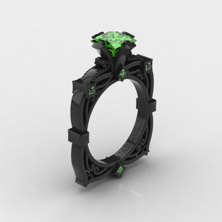 Art-Masters-Caravaggio-14K-Black-Gold-2-0-Ct-Princess-Green-Topaz-Engagement-Ring-R630-14KBGGT-P4