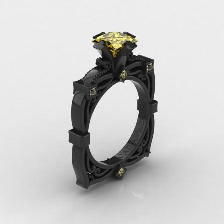 Art-Masters-Caravaggio-14K-Black-Gold-2-0-Ct-Princess-Yellow-Sapphire-Engagement-Ring-R630-14KBGYS-P4