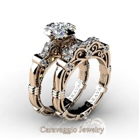 Art Masters Caravaggio 14K Rose Gold 1.25 Ct Princess White Sapphire Diamond Engagement Ring Wedding Band Set R623PS-14KRGDWS