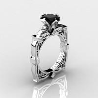 Art Masters Caravaggio 14K White Gold 1.5 Ct Princess Black and White Diamond Engagement Ring R630-14KWGDBD