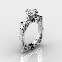 Art Masters Caravaggio 14K White Gold 1.5 Ct Princess White Sapphire Black Diamond Engagement Ring R630-14KWGBDWS