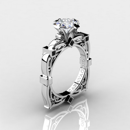 Art-Masters-Caravaggio-14K-White-Gold-2-0-Ct-Princess-White-Sapphire-Black-Diamond-Engagement-Ring-R630-14KWGBDWS-P3