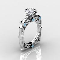 Art Masters Caravaggio 14K White Gold 1.5 Ct Princess White Sapphire Blue Topaz Engagement Ring R630-14KWGBTWS