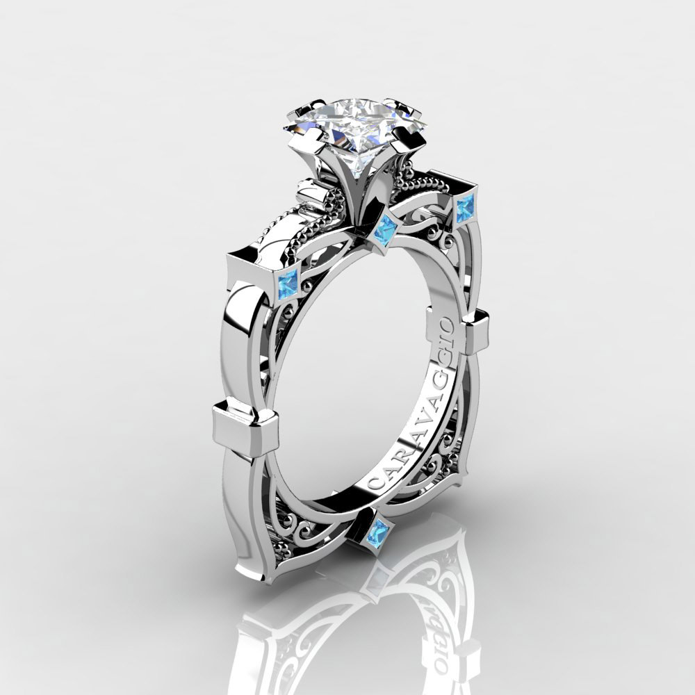 art masters caravaggio 14k white gold 2 0 - Blue Topaz Wedding Rings