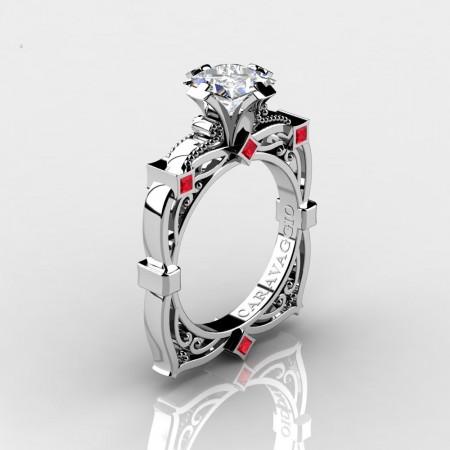 Art-Masters-Caravaggio-14K-White-Gold-2-0-Ct-Princess-White-Sapphire-Ruby-Engagement-Ring-R630-14KWGRWS-P2