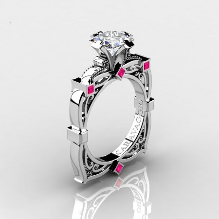 Art-Masters-Caravaggio-14K-White-Gold-2-0-Ct-Princess-White-and-Pink-Sapphire-Engagement-Ring-R630-14KWGPSWS-P2