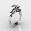 Art Masters Caravaggio 14K White Gold 1.0 Ct White Topaz Black Diamond Engagement Ring R623-14KWGBDWT