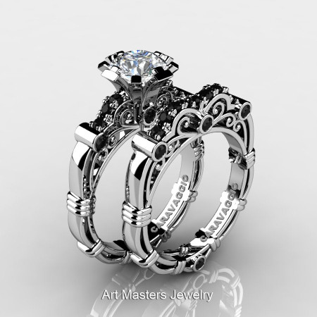 Art Masters Caravaggio 14K White Gold 1.0 Ct White Topaz Black Diamond Engagement Ring Wedding Band Set R623S-14KWGBDWT