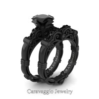 Art Masters Caravaggio 14K Black Gold 1.25 Ct Princess Black Diamond Engagement Ring Wedding Band Set R623PS-14KBGBD