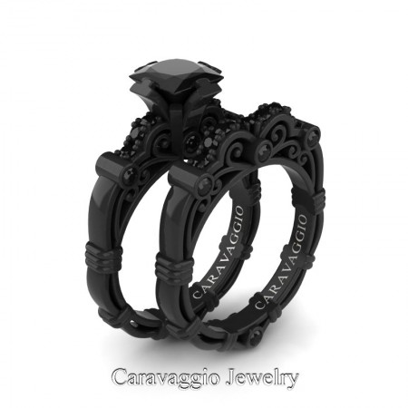 Caravaggio-14K-Black-Gold-1-25-Carat-Princess-Black-Diamond-Engagement-Ring-Wedding-Band-Set-R623PS-14KBGBD-P