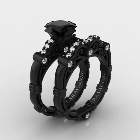 Art Masters Caravaggio 14K Black Gold 1.25 Ct Princess Black and White Diamond Engagement Ring Wedding Band Set R623PS-14KBGDBD
