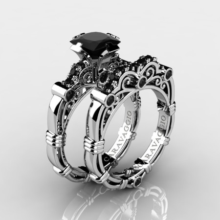 Art Masters Caravaggio 14K White Gold 1.25 Ct Princess Black Diamond Engagement Ring Wedding Band Set R623PS-14KWGBD
