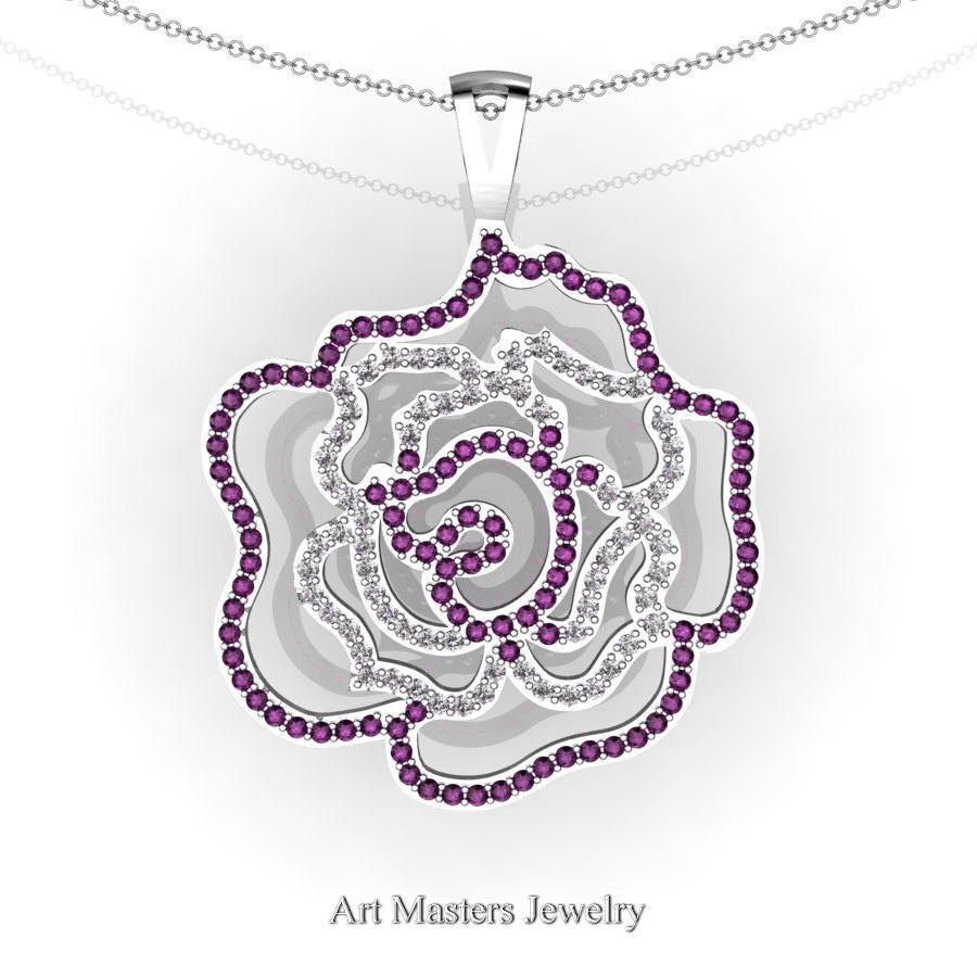 Classic 14K White Gold Garnet Diamond Rose Promise Pendant and ...