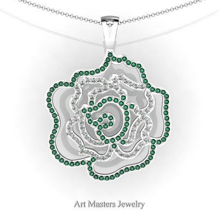 Classic 14K White Gold Emerald Diamond Rose Promise Pendant and Necklace Chain P101M-14KWGDEM