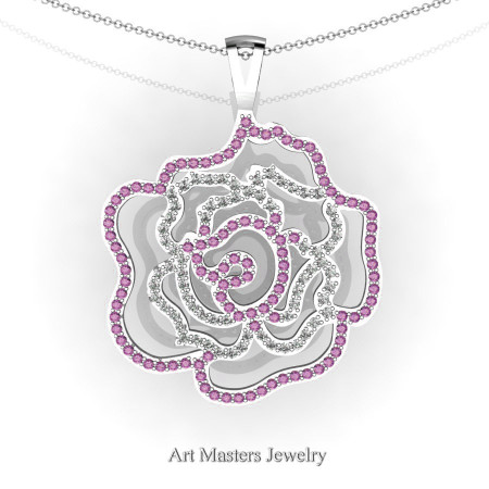 Classic 14K White Gold Light Pink Sapphire Diamond Rose Promise Pendant and Necklace Chain P101M-14KWGDLPS