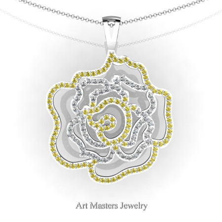 Classic 14K White Gold Yellow Sapphire Diamond Rose Promise Pendant and Necklace Chain P101M-14KWGDYS