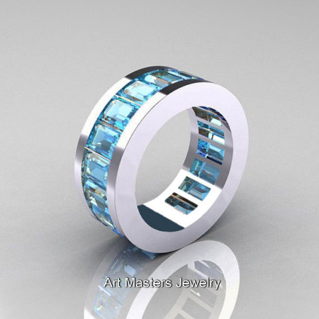 Mens Modern 14K White Gold Aquamarine Channel Cluster Infinity Wedding Band R174-14WGAQ