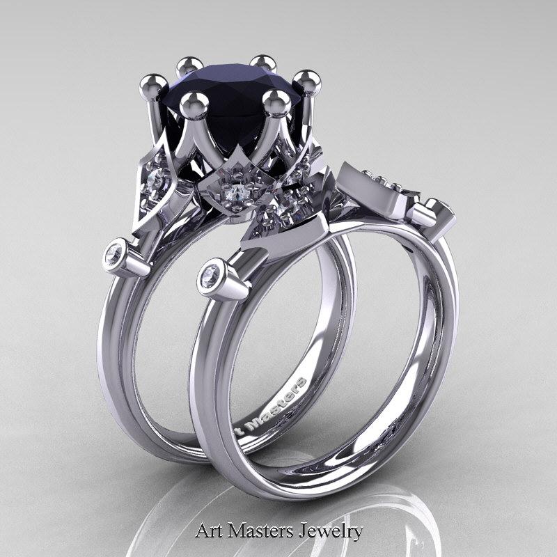 Modern Antique 14k White Gold 3 0 Carat Black And Diamond Solitaire Wedding Ring Set R514s