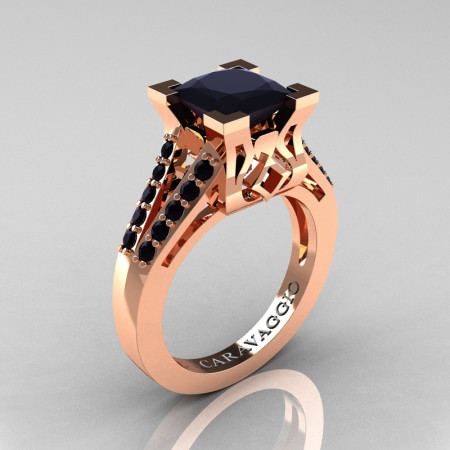 Caravaggio Classic 14K Rose Gold 2.0 Ct Princess Black Diamond Cathedral Engagement Ring R488-14KRGBD