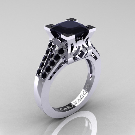 Caravaggio Classic 14K White Gold 2.0 Ct Princess Black Diamond Cathedral Engagement Ring R488-14KWGBD