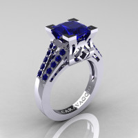 Caravaggio Classic 14K White Gold 2.0 Ct Princess Blue Sapphire Cathedral Engagement Ring R488-14KWGBS