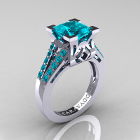 Caravaggio Classic 14K White Gold 2.0 Ct Princess Blue Zircon Cathedral Engagement Ring R488-14KWGBZ