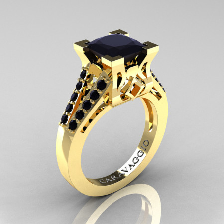 Caravaggio Classic 14K Yellow Gold 2.0 Ct Princess Black Diamond Cathedral Engagement Ring R488-14KYGBD