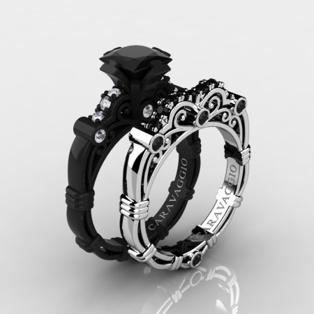 Art Masters Caravaggio 14K Black and White Gold 1.25 Ct Princess Black and White Diamond Engagement Ring Wedding Band Set R623PS-14KBWGDBD