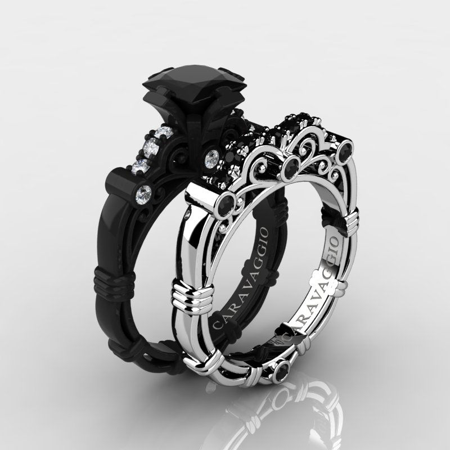1 25ct Black Diamond Engagement Rings Set 14k White Gold: Art Masters Caravaggio 14K Black And White Gold 1.25 Ct