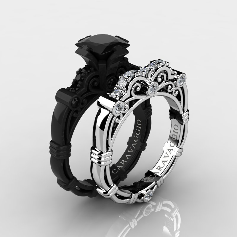 Art Masters Caravaggio 14K Black and White Gold 1 25 Ct Princess Black and Wh
