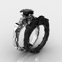 Art Masters Caravaggio 14K Black and White Gold 1.25 Ct Princess Black and White Diamond Engagement Ring Wedding Band Set R623PS2-14KWBGDBD