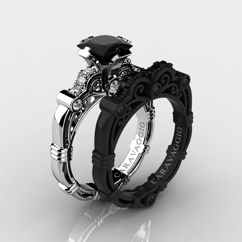 art masters caravaggio 14k black and white gold 125 ct princess black and white diamond engagement - Black Gold Wedding Ring Sets