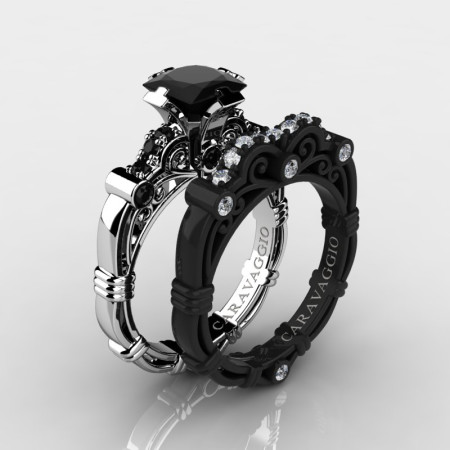 Art Masters Caravaggio 14K Black and White Gold 1.25 Ct Princess Black and White Diamond Engagement Ring Wedding Band Set R623PS-14KWBGDBD