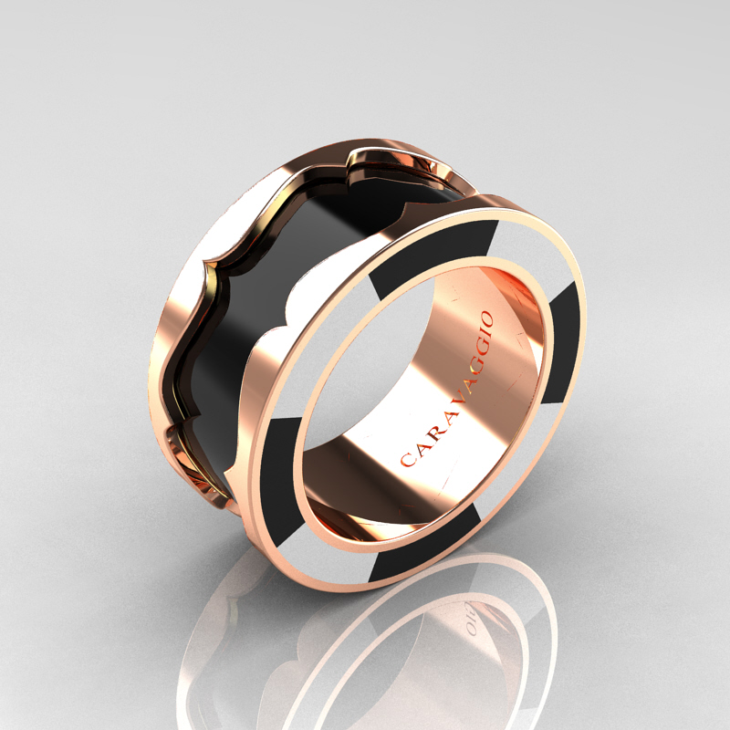 Caravaggio 14k Rose Gold Black And White Italian Enamel Wedding Band Ring R618f 14krgblwen