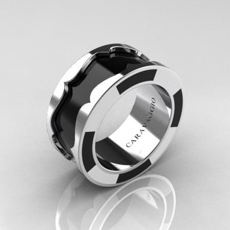 Caravaggio 14K White Gold Black and White Italian Enamel Wedding Band Ring R618F-14KWGBLWEN
