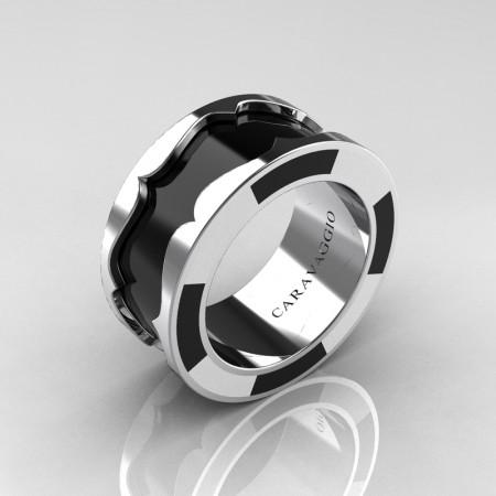 Caravaggio 14K White Gold Black and White Italian Enamel Wedding Band Ring R618F-14KWGBLWEN