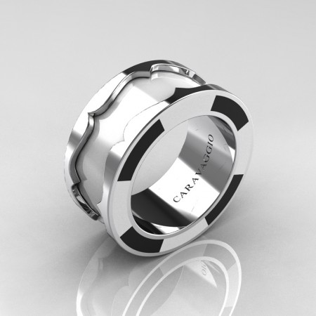 Caravaggio-Ladies-14K-White-Gold-White-and-Black-Enamel-Wedding-Band-Ring-R618F-14KWGBLWEN-P