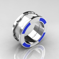 Caravaggio 14K White Gold White and Blue Italian Enamel Wedding Band Ring R618F-14KWGWBEN