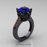Classic 14K Black Gold 3.0 Carat Blue and Orange Sapphire Solitaire Wedding Ring R301-14KBGOSBS