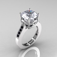 Classic 14K White Gold 3.0 Carat White Sapphire Black Diamond Solitaire Wedding Ring R301-14KWGBDWS