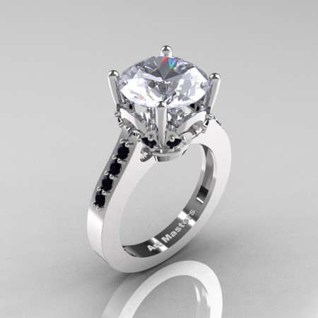 Classic 14K White Gold 3.0 Carat White Sapphire Black Diamond Solitaire Wedding Ring R301-14KWGBDWS
